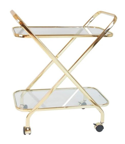 BAR TROLLEY JESTER GOLD CLEAR GLASS NO RAILS RECT