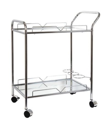 BAR TROLLEY MARTIN CHROME MIRROR GLASS RECT