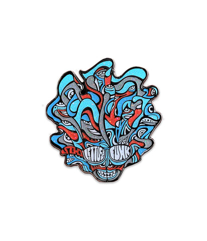 Lettuce Sparkle Head Pin (Blue / Red - Ltd to 200)