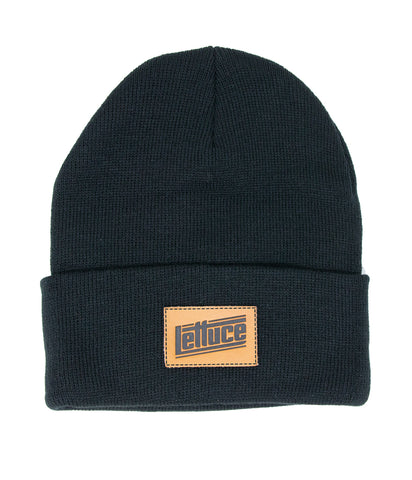 Lettuce Leather Patch Beanie (Black)