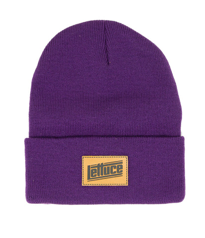 Lettuce Leather Patch Beanie (Purple)