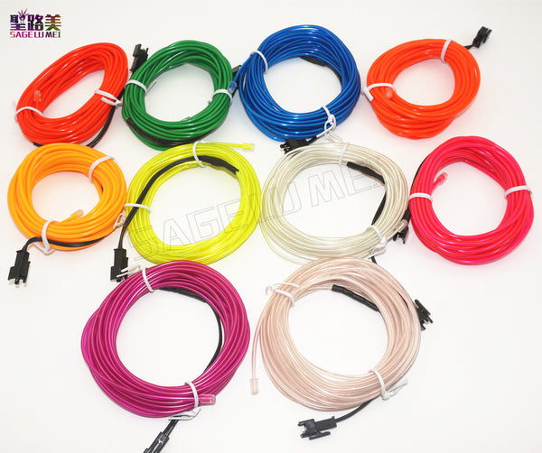 2m/3m/5m 3V AA controller Flexible Neon Light Glow EL Wire Rope Tube tape waterproof LED Neon Lights Shoes Clothing Car Decor