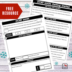 Snowball Story Math Free Resource (CGI: Subtraction)