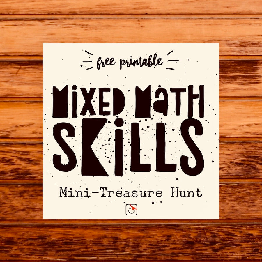 Mixed Math Skills: Mini-Treasure Hunt (Free Printable)