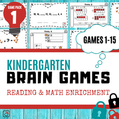 Kindergarten Reading and Math Enrichment Game Pack 1