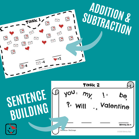 Addition and Subtraction task and sentence building task