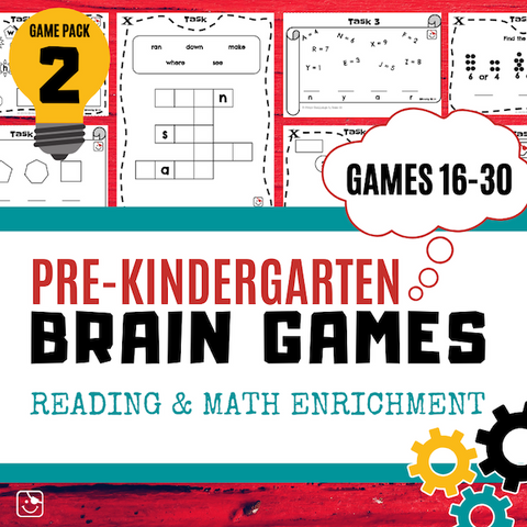 Pre-K Reading and Math Enrichment Game Pack 2