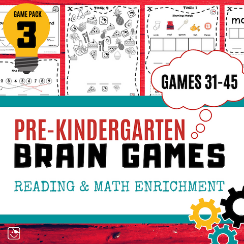 Pre-K Reading and Math Enrichment Game Pack 3