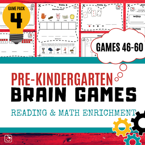 Pre-K Reading and Math Enrichment Game Pack 4