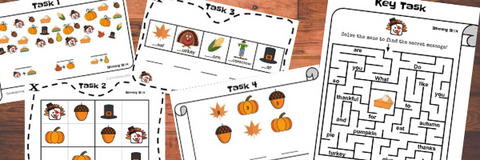 Thanksgiving Math and Reading Enrichment Game