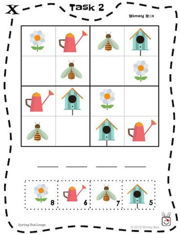 Spring Theme Math and Reading Game Pre-K