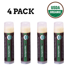 Load image into Gallery viewer, USDA Organic Lip Balm 4-Pack – Eucalyptus Mint Flavor with Beeswax, Coconut Oil, Vitamin E