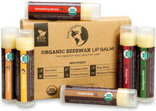Load image into Gallery viewer, USDA Organic Lip Balm 6-Pack – Fruit Flavors, Beeswax, Coconut Oil, Vitamin E