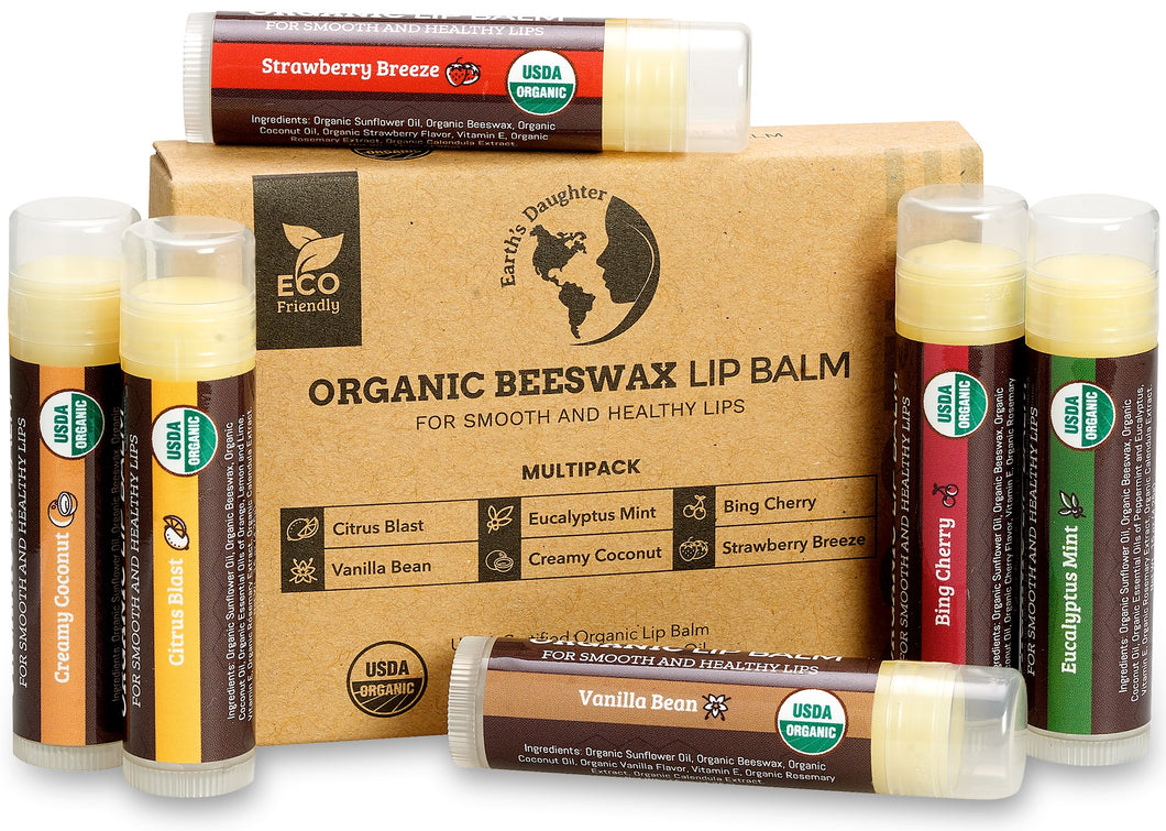 USDA Organic Lip Balm 6-Pack – Fruit Flavors, Beeswax, Coconut Oil, Vitamin E