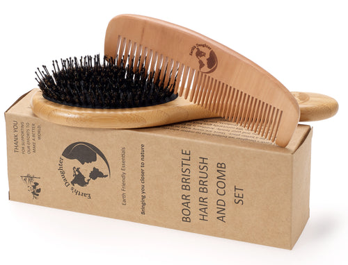 Boar Bristle Hair Brush With Nylon Pins and Free Comb