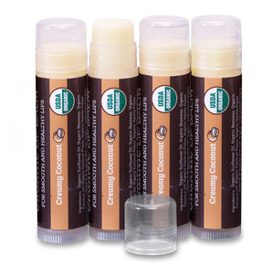 USDA Organic Lip Balm 4-Pack – Creamy Coconut Flavor with Beeswax, Coconut Oil, Vitamin E