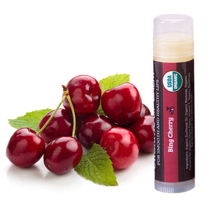 USDA Organic Lip Balm 4-Pack – Bing Cherry Flavor with Beeswax, Coconut Oil, Vitamin E