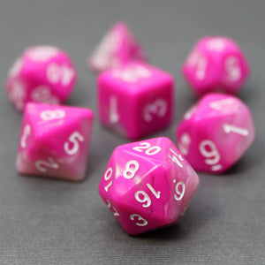 Pink and White - Perfect Storm Marbled Dice Set (7pc with velvet bag)