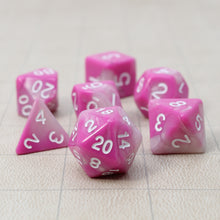 Load image into Gallery viewer, Pink and White - Perfect Storm Marbled Dice Set (7pc with velvet bag)