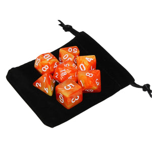 Orange and Yellow - Perfect Storm Marbled Dice Set (7pc with velvet bag)