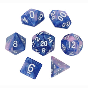 Blue and Pink - Perfect Storm Marbled Dice Set (7 pc. and velvet bag)
