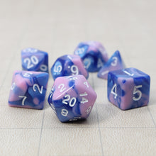 Load image into Gallery viewer, Blue and Pink - Perfect Storm Marbled Dice Set (7 pc. and velvet bag)