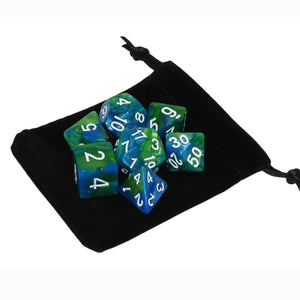 Blue and Green - Perfect Storm Marbled Dice Set (7pc and velvet bag)