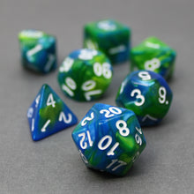 Load image into Gallery viewer, Blue and Green - Perfect Storm Marbled Dice Set (7pc and velvet bag)