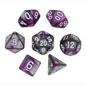 Purple and Gray - Perfect Storm Marbled Dice Set (7pc and velvet bag)
