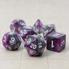 Load image into Gallery viewer, Purple and Gray - Perfect Storm Marbled Dice Set (7pc and velvet bag)