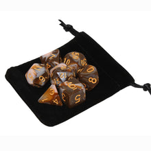 Load image into Gallery viewer, Chocolate and Pink - Perfect Storm Marbled Dice Set (7pc and velvet bag)