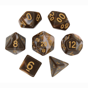 Chocolate and Pink - Perfect Storm Marbled Dice Set (7pc and velvet bag)