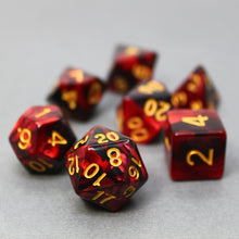 Load image into Gallery viewer, Red and Black - Perfect Storm Marbled Dice Set (7pc and velvet bag)