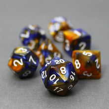 Load image into Gallery viewer, Blue and Gold - Perfect Storm Marbled Dice Set (7pc and velvet bag)