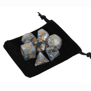 Black and Gray - Perfect Storm Marbled Dice Set (7pc and velvet bag)