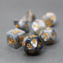Load image into Gallery viewer, Black and Gray - Perfect Storm Marbled Dice Set (7pc and velvet bag)