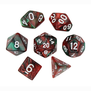 Red and Green - Perfect Storm Marbled Dice Set (7pc and velvet bag)