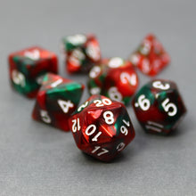 Load image into Gallery viewer, Red and Green - Perfect Storm Marbled Dice Set (7pc and velvet bag)