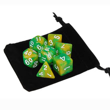 Load image into Gallery viewer, Yellow and Green - Perfect Storm Marbled Dice Set (7pc and velvet bag)