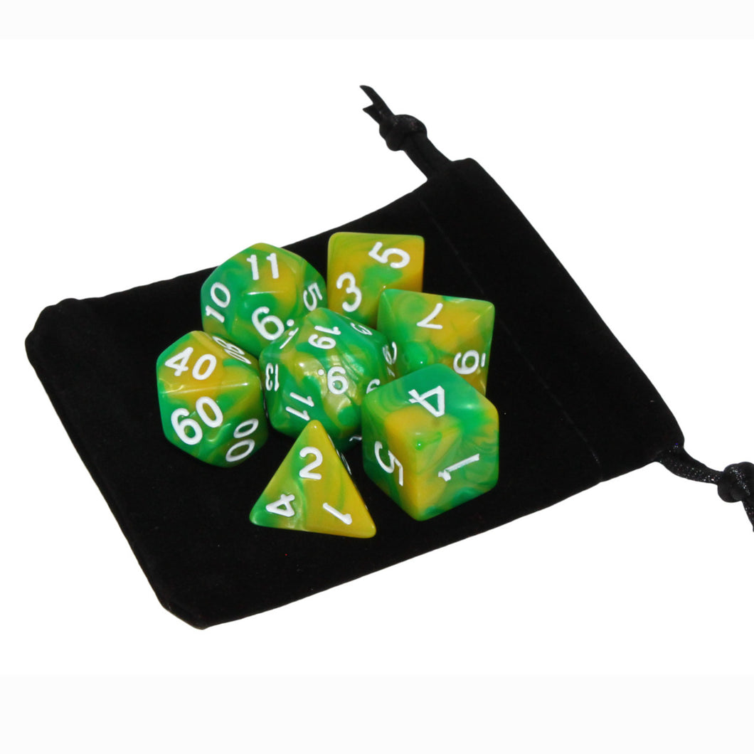 Yellow and Green - Perfect Storm Marbled Dice Set (7pc and velvet bag)