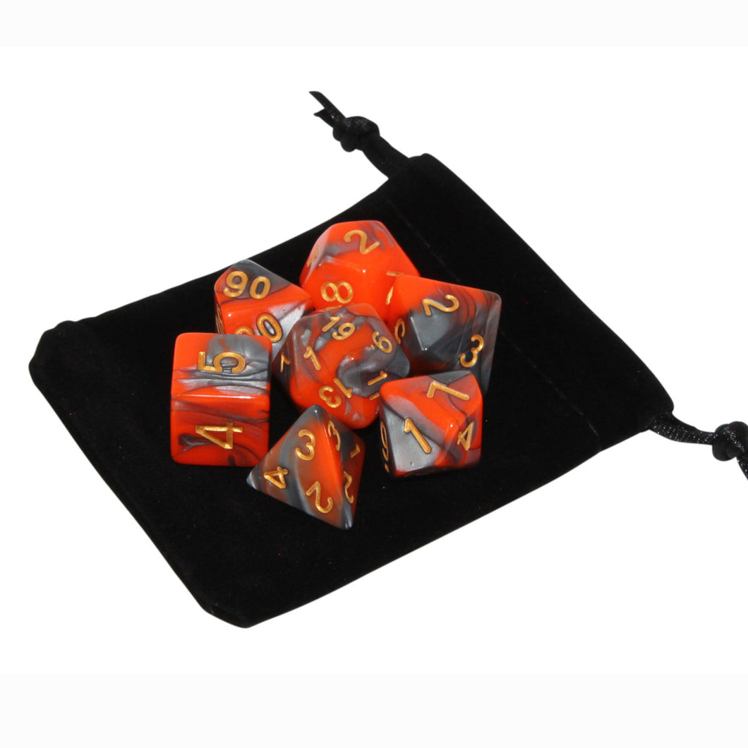 Orange and Gray - Perfect Storm Marbled Dice Set (7pc and velvet bag)