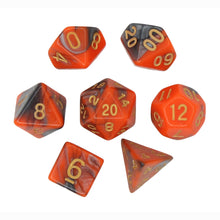 Load image into Gallery viewer, Orange and Gray - Perfect Storm Marbled Dice Set (7pc and velvet bag)