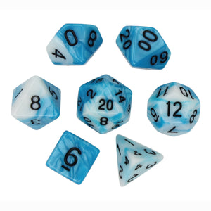 Blue and White - Perfect Storm Marbled Dice Set (7pc and velvet bag)