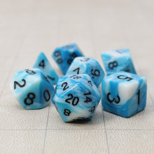 Load image into Gallery viewer, Blue and White - Perfect Storm Marbled Dice Set (7pc and velvet bag)