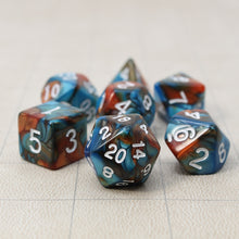 Load image into Gallery viewer, Blue and Red - Perfect Storm Marbled Dice Set (7pc and velvet bag)