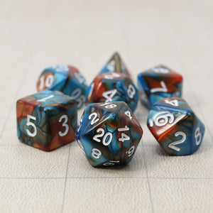 Blue and Red - Perfect Storm Marbled Dice Set (7pc and velvet bag)