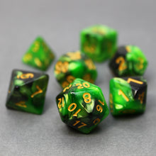 Load image into Gallery viewer, Green and Black - Perfect Storm Marbled Dice Set (7pc and velvet bag)