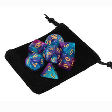 Load image into Gallery viewer, Light Blue and Purple - Perfect Storm Marbled Dice Set (7pc and velvet bag)