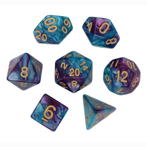 Light Blue and Purple - Perfect Storm Marbled Dice Set (7pc and velvet bag)