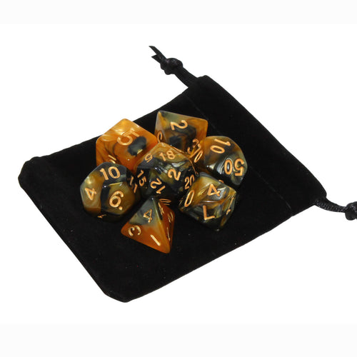 Gold and Black - Perfect Storm Marbled Dice Set (7pc and velvet bag)